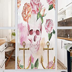 Decorative Window Film,No Glue Frosted Privacy Film,Stained Glass Door Film,Nautical Anchor With Victorian Roses Peonies Vintage Art Decor Print,for Home & Office,23.6In. by 35.4In White Pink Brown Gr