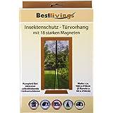 Cortina para puerta para protección contra insectos, mosquitos, moscas, con 18potentes imanes