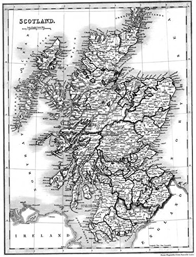 Imagekind Wall Art Print entitled Vintage Map Of Scotland (1832) BW by Alleycatshirts @Zazzle | 11 x 14 (Scotland Print Vintage)