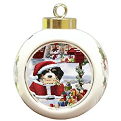 Doggie of the Day Bernedoodle Dear Santa Letter Christmas Holiday Mailbox Dog Round Ball Ornament