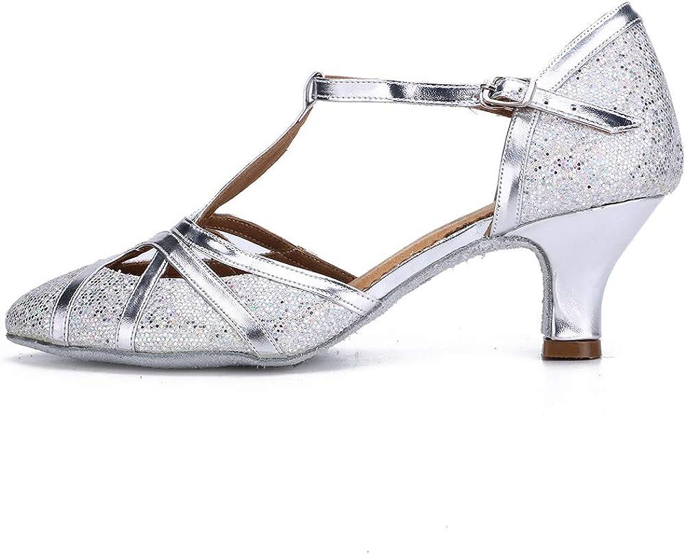 HROYL Zapatos de Baile/Zapatos Latinos de satín Mujeres EC5-F11