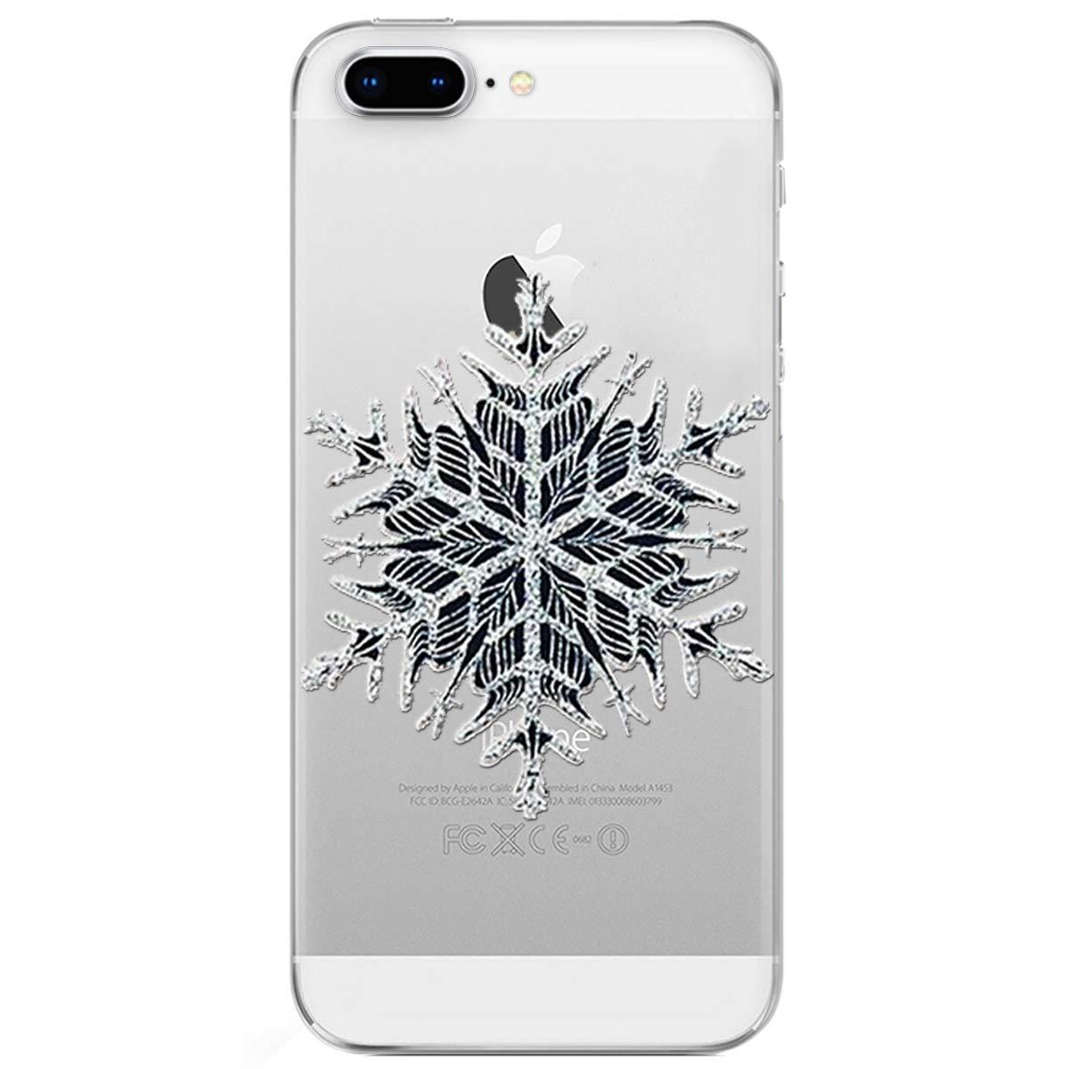 Durchsichtig Silikon Etui Christmas Weihnachten Schneeflocke Hirsch TPU Gel Bumper MoreChioce iPhone 8 Plus H/ülle,iPhone 7 Plus Handyh/ülle