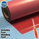 Siser Glitter Red Easyweed Heat Transfer Craft Vinyl Roll Including Stainless Steel Weeding Tool (5ft x 10'')