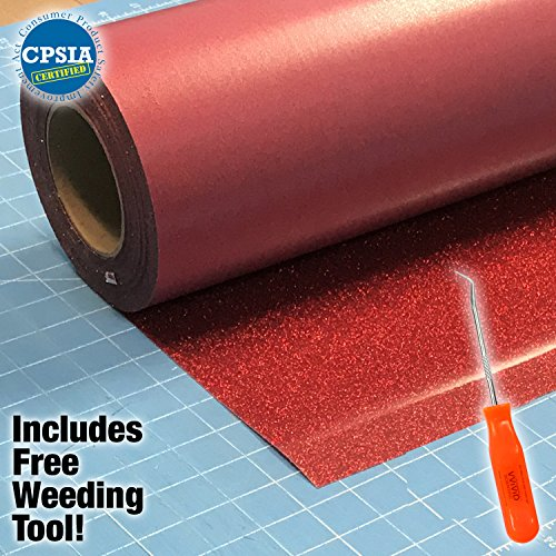 Siser Glitter Red Easyweed Heat Transfer Craft Vinyl Roll Including VViViD-Brand Stainless Steel Weeding Tool (5ft x 10