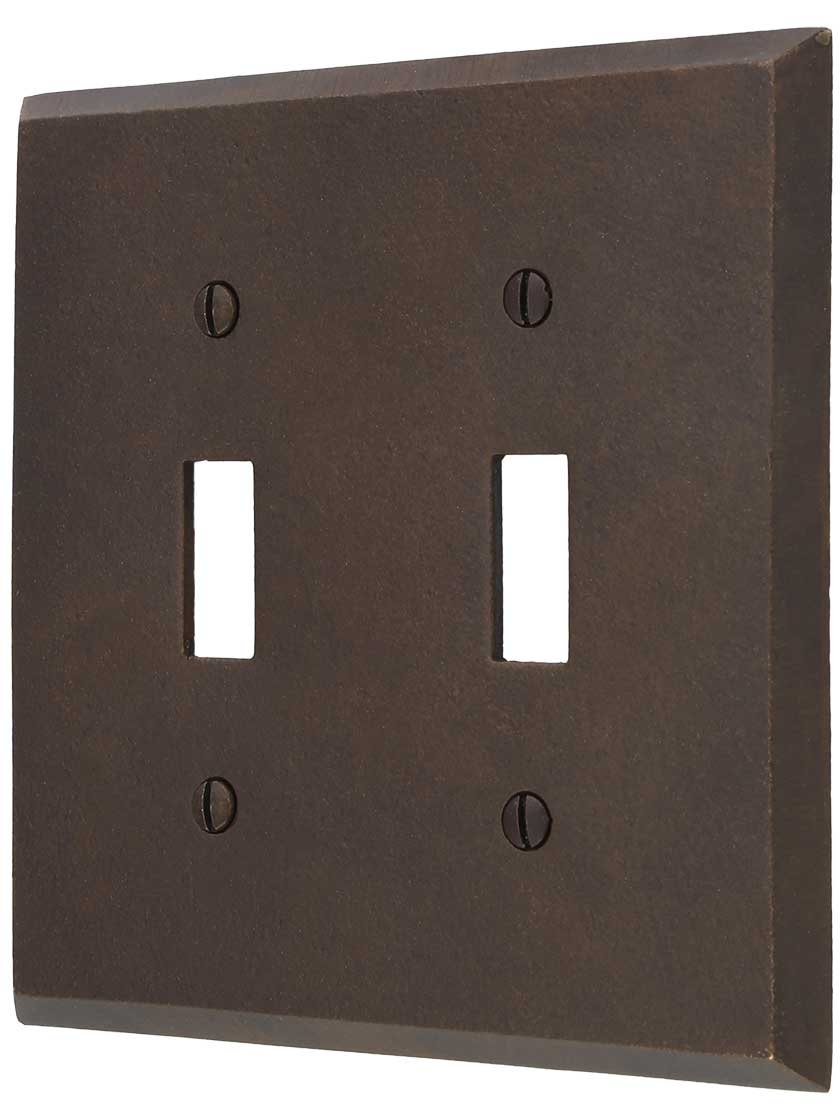Distressed Bronze Double-Toggle Switch Plate