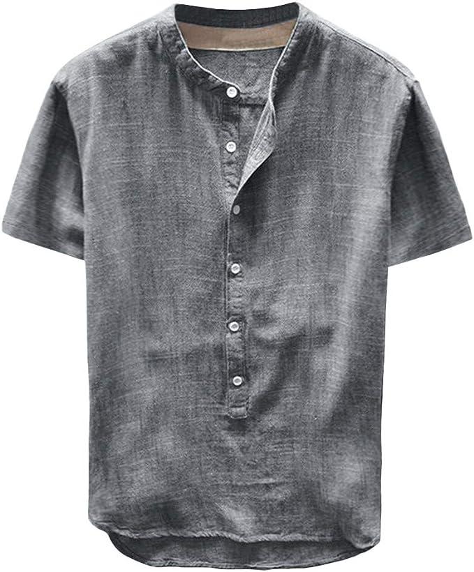 Men Summer Cotton Linen T-Shirt Short Sleeve Basic Tee Slim Fit Casual Top S-3XL