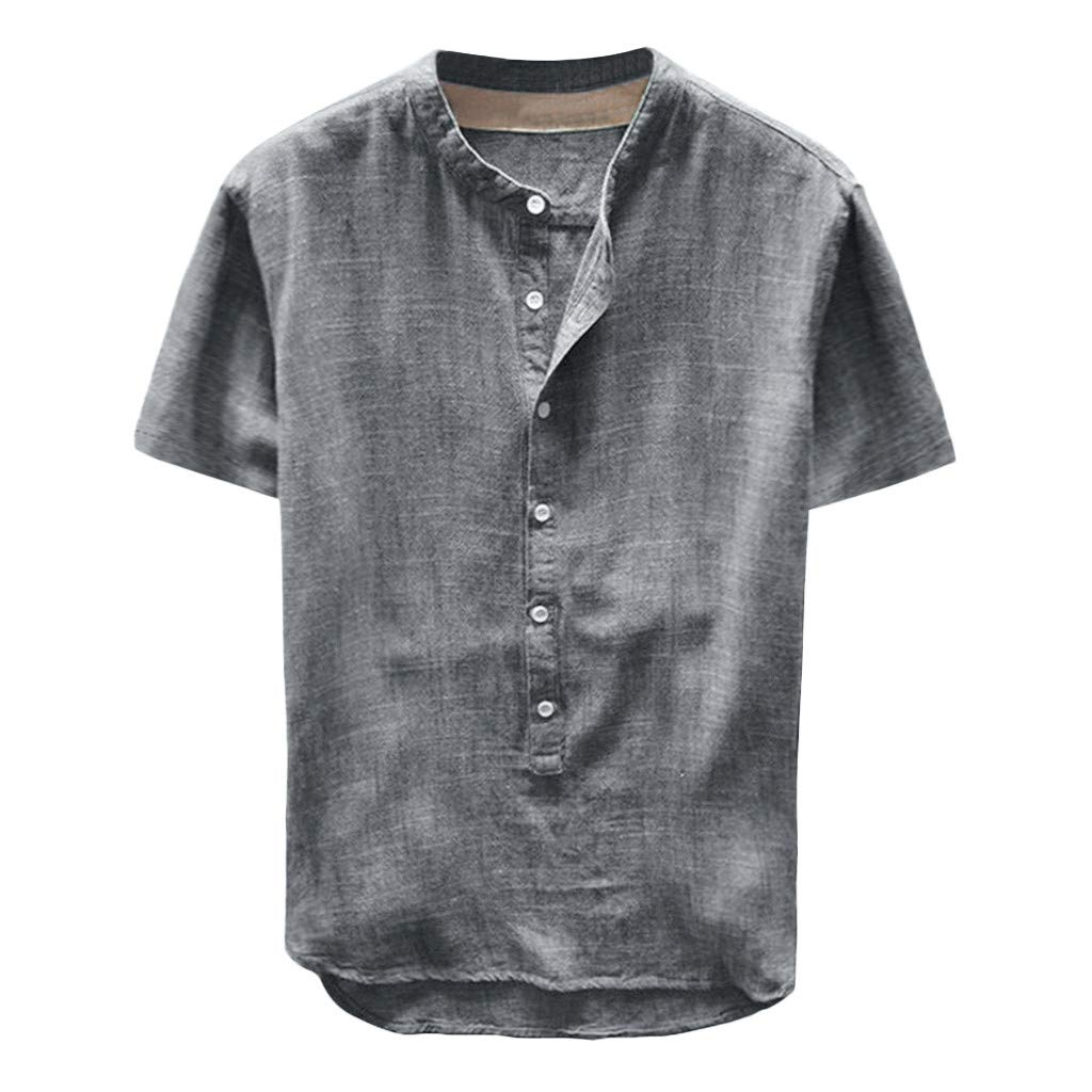 aiNMkm O-Neck T-Shirts Men,Fashion Men's Summer Button Casual Linen and Cotton Short Sleeve Top Blouse,Gray,3XL