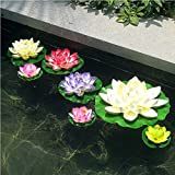 7pcs Set Artificial Water Lily Lotus Foam Flower Floating Garden Pond Decor Pool Fish Tank Pond Water Lilies Home Garden Decoration