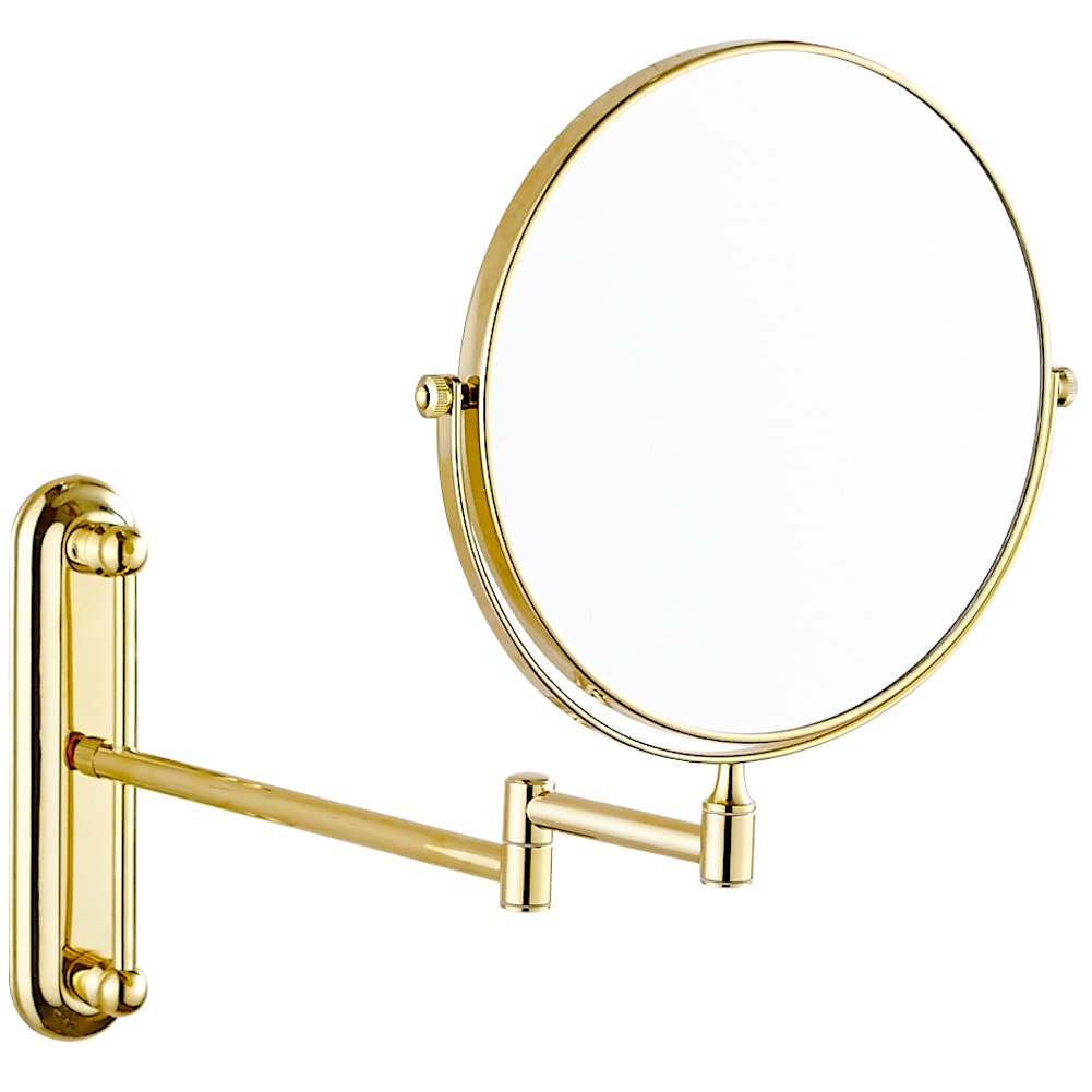 GURUN 10x Magnification Adjustable Round Wall Mount Mirror 8-inch Double Sided Makeup Mirrors,Gold Finish M1806J(8in,10x) by GURUN (Image #1)