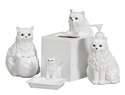 amazon com playful cat bathroom accessories set of 4 home kitchen rh amazon com Kitty Bathroom Set Cat Bedroom Sets