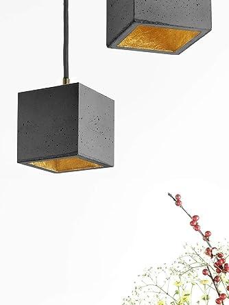 Handgefertigte Hangeleuchte Karla Aus Beton Grau Gold Modern Design
