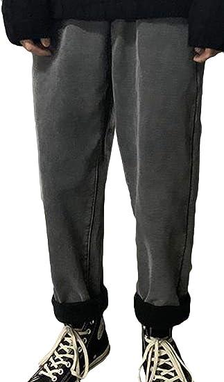 Alhylaジーンズ メンズ ストレート デニム ロングパンツ ボトムス ズボン おしゃれ 九分丈 ゆったり 着痩せ 美脚 おしゃれ カジュアル ファッション 秋 冬 裏起毛