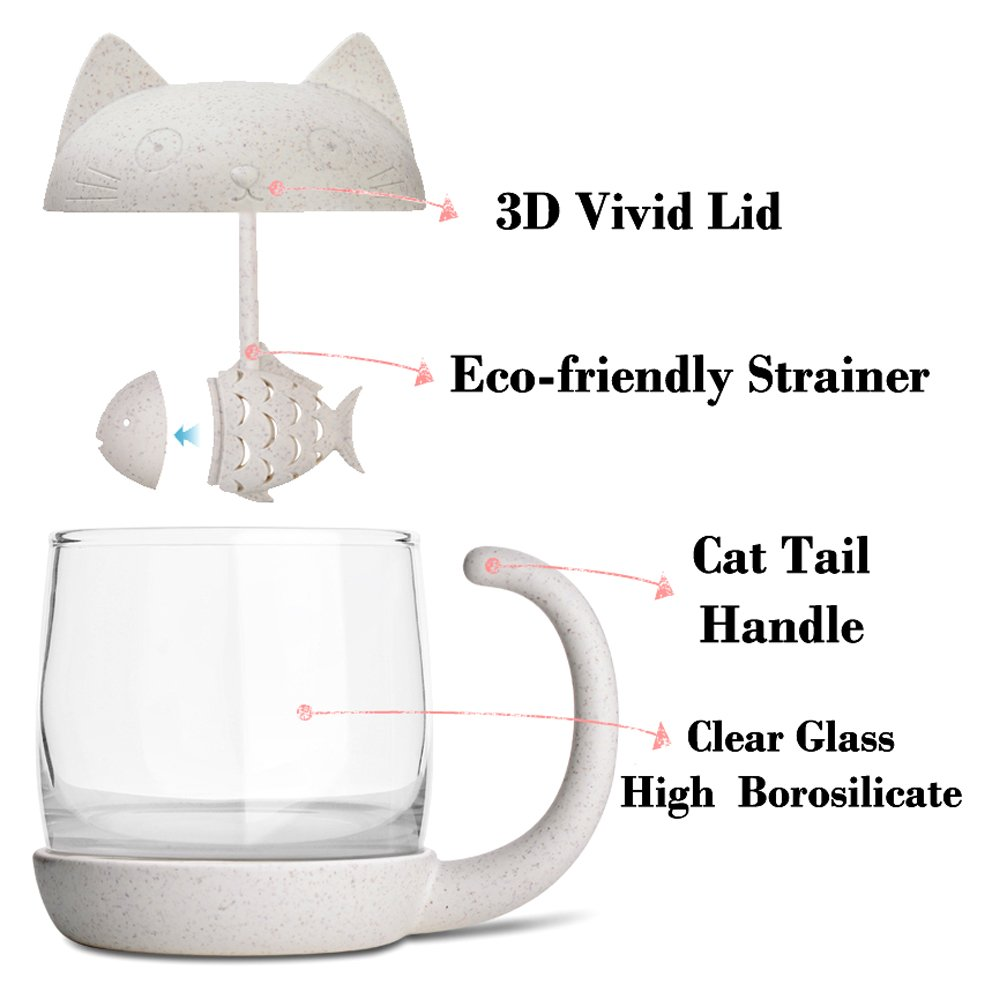 SSZY Home 8.5oz Glass Teacup Cute Cat Tea Cup with Fish Filter Creative Cats Tail Coffee Mug Tea Lovely Cup for Children Child Christmas Gift
