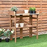 Wooden Potting Bench Garden Planting Workstation Shelves - By Choice Products