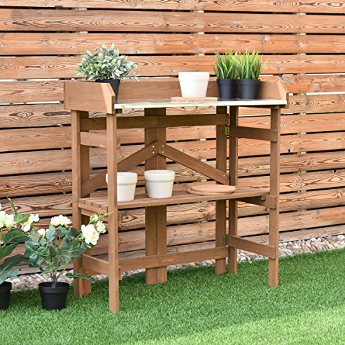 Wooden Potting Bench Garden Planting Workstation Shelves - By Choice Products by By Choice Products
