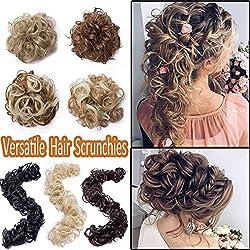 Elailite Curly Messy Hair Bun Maker Versatile Long Hair Wrap DIY Ponytail Extensions Chignon Magical Around Scrunchies Long Hair Band 85g Long Hair Band-Dark Brown Mix Bleach Blonde