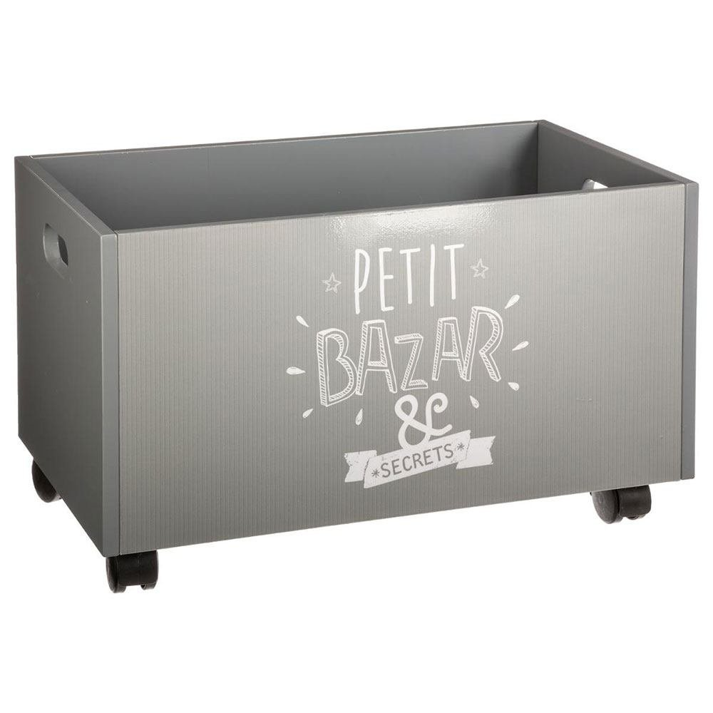 Children's wooden storage chest on wheels - Colour GREY and WHITE ATMOSPHERA