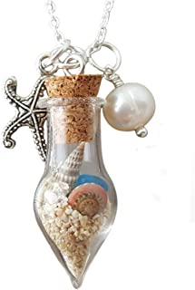 product image for Handmade in Hawaii, wish bottle with sea glass, seashell, starfish charm, freshwater pearl, (Hawaii Gift Wrapped, Customizable Gift Message)