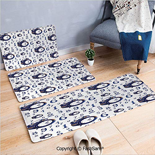 FashSam 3 Piece Non Slip Flannel Door Mat Watercolor Style Effect an Alarm Clock Illustration Caligraphic Numbers Indoor Carpet for Bath Kitchen(W15.7xL23.6 by W19.6xL31.5 by W35.4xL62.9)