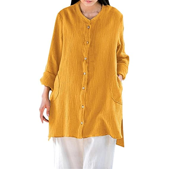Blusa con Botones Sueltos para Mujer Manga Larga de Dobladillo Irregular Camisas de Cardigan Blusa ❤ Manadlian: Amazon.es: Ropa y accesorios