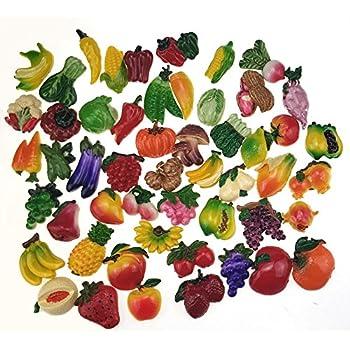 Miswee random 12Pcs creative 3D resin fruit vegetables fridge magnets funny cute decoration refrigerator magnet accessories office school whiteboard magnet (Random 12 styles (vegetables and fruits))