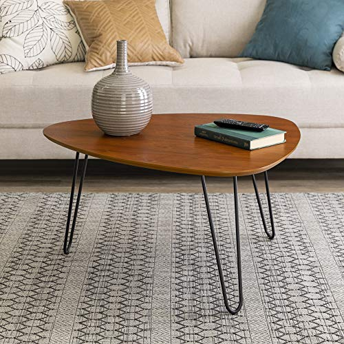 WE Furniture Mid Century Modern Hairpin Coffee Accent Table Living Room, 32 Inch, Walnut (Table Living Round Room)