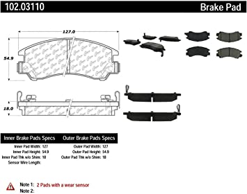 Centric Parts 102.01970 102 Series Semi Metallic Standard Brake Pad