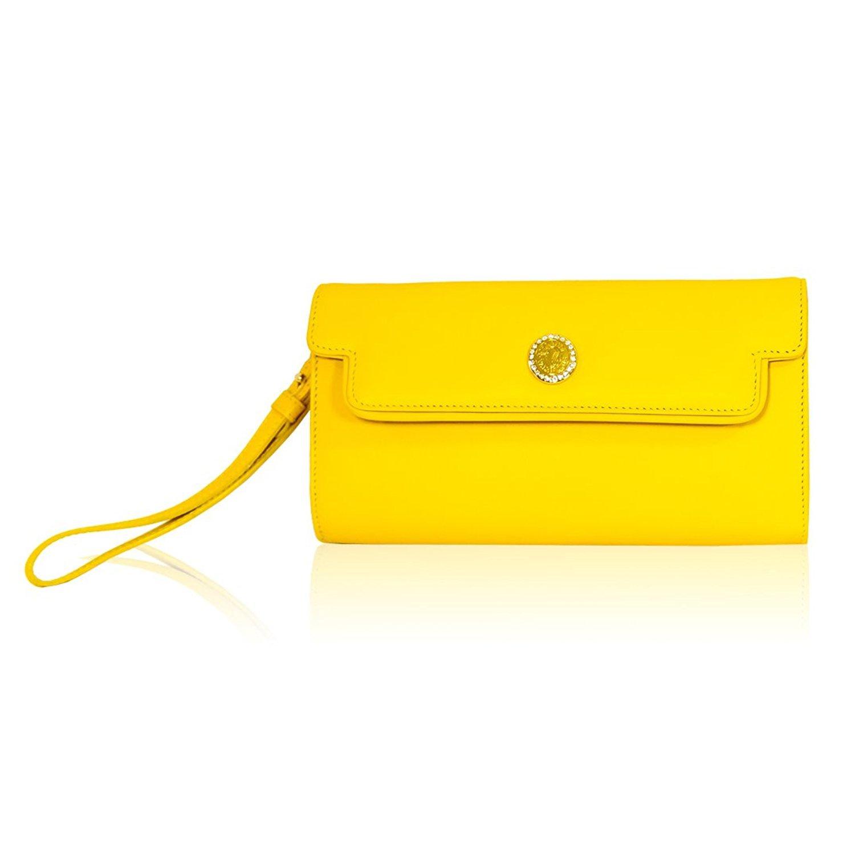Valentino Orlandi Monedero de Cuero de Embrague de Cuero Amarillo Canario diseñador Italiano: Amazon.es: Equipaje