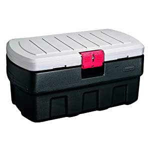 Rubbermaid ActionPacker Lockable Storage Box, 35 Gallon, Grey and Black (1824011)