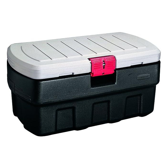 Rubbermaid ActionPacker Lockable Storage Box, 35 Gallon, Grey and Black (1824011)