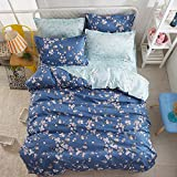 Lightweight Microfiber Duvet Cover Set-Simple Light Flower Dance 4 Piece Twin /Queen/King Luxury Hotel Quality Bedding Set with 2 Pillow Shams, Blue Designed By Dioline
