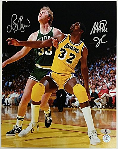 5c2450d77d4 Image Unavailable. Image not available for. Color  Magic Johnson + Larry  Bird Signed 11x14 Photo  1 Lakers Celtics Beckett BAS Coa