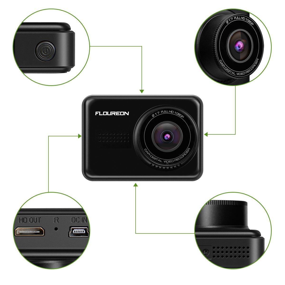 Dash Cam, FLOUREON HD 1080P Car DVR Dashboard Camera Full HD with 2.45\