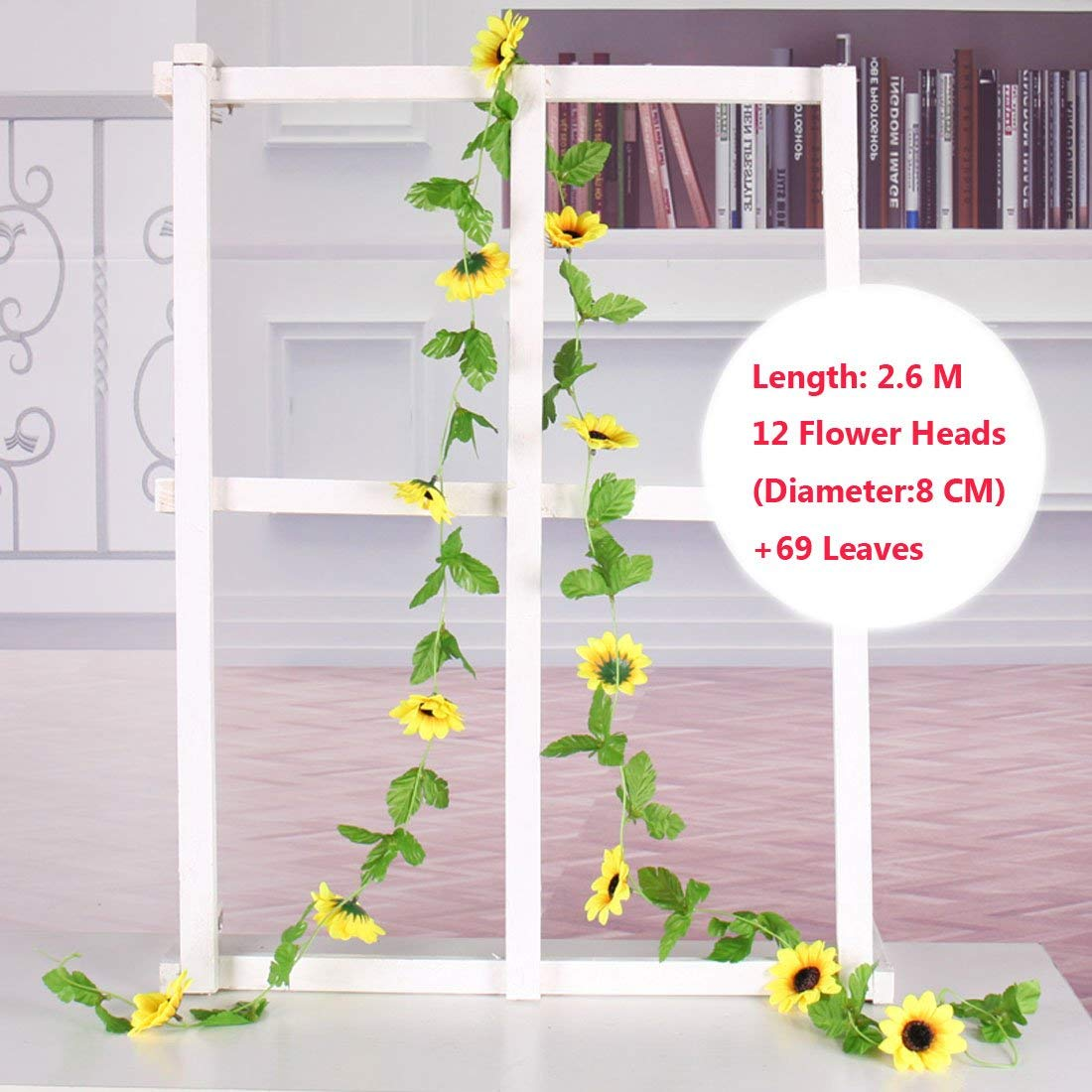 Calcifer 2 Sets 102.36 Silk Sunflower Vines Garland Artificial Flowers Bouquet for Home Garden Room Hotel Party Wedding Decoration