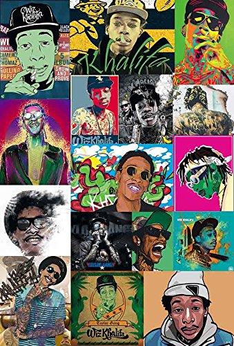 Wiz Khalifa Cartoon Style Artwork Frames American Rapper Hip-Hop Music Poster Size 24x35 Inch O-55128