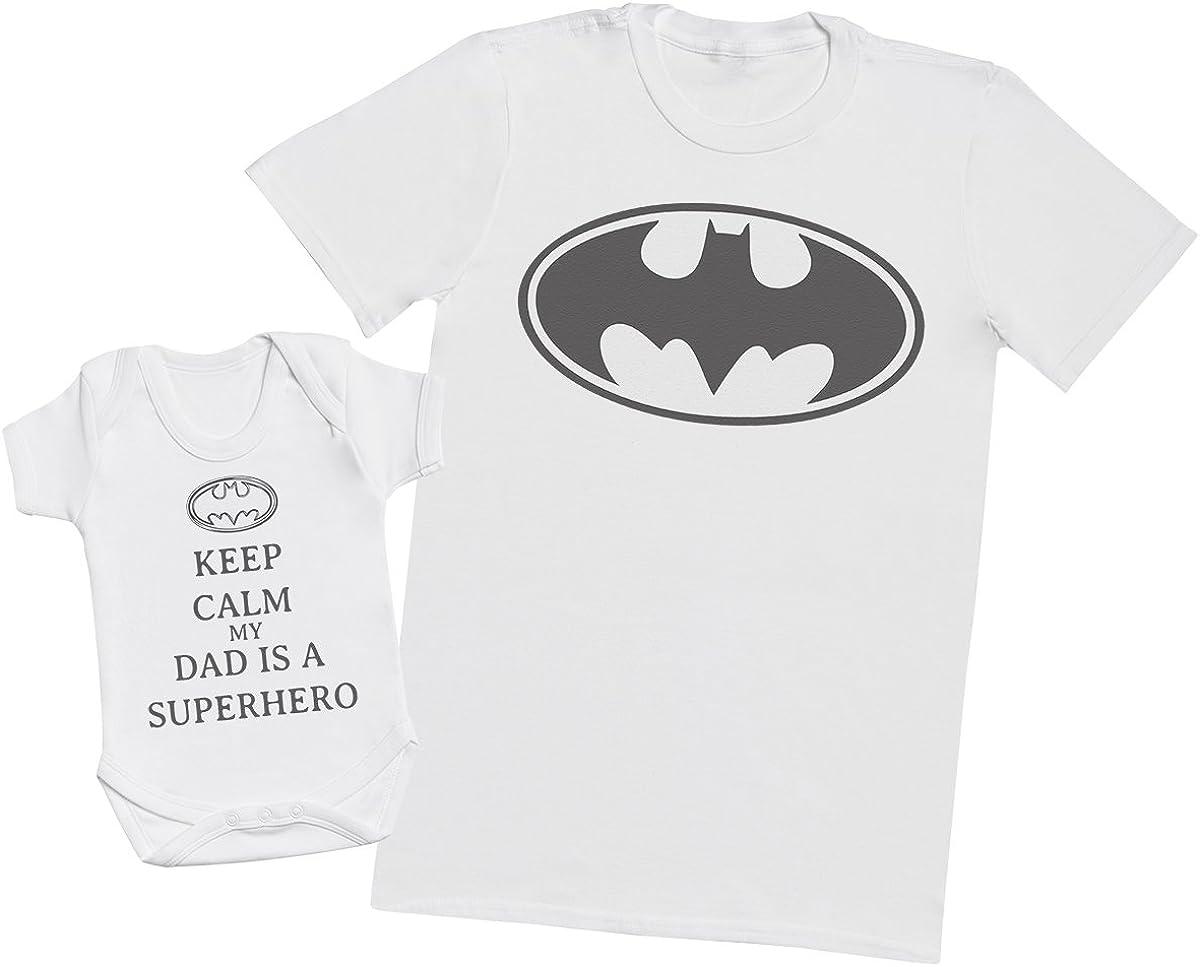 Keep Calm My Dad is A Hero – Juego de regalo a juego para padre, camiseta y body para bebé para hombre