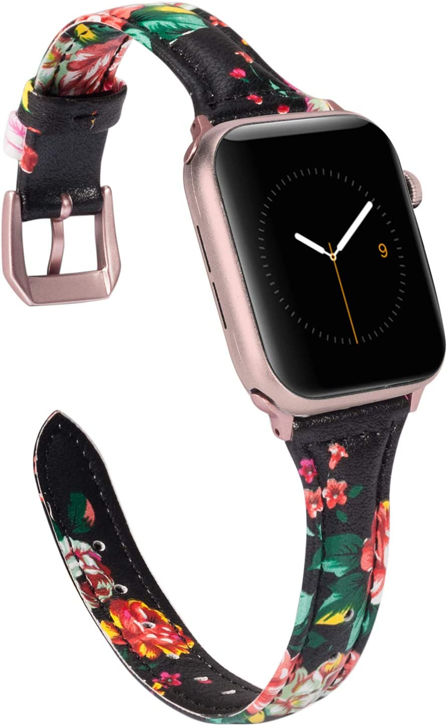 Wearlizer Slim Floral Leather Compatible with Apple Watch Band 38mm 40mm for iWatch SE Womens Black Red Flower Strap Replacement Beauty Cute Wristband (Rose Gold Clasp) Series 6 5 4 3 2 1 Sport