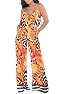 908aea434a2b Women s Casual Sleeveless Floral Jumpsuit Sexy V Neck Wide Leg Long Pants  Rompers