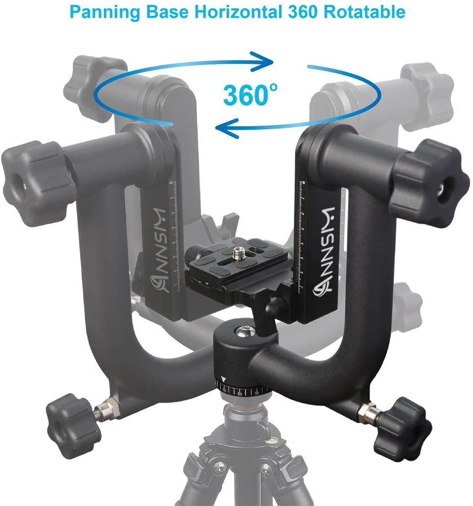 """Annsm Heavy Duty Aluminum Alloy Panoramic Tripod Gimbal Head for DLSR Cameras with Telephoto Lenses with 360 Degree Movable Arca-Swiss STD 1//4/"""" Quick Release Plate Max Loading up to 40 lbs //18 Kgs"""