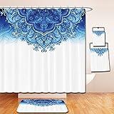 LiczHome Bath Suit: Showercurtain Bathrug Bathtowel Handtowel Moroccan Decor Collection Floral Artwork Vintage Islamic Architectural Decorative Elements Oriental Pattern Print Polyester Fabric Bluehit