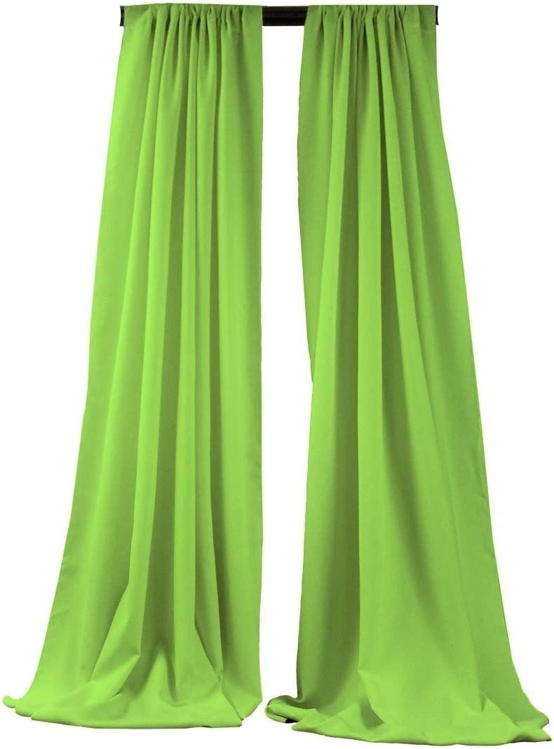 New Creations Fabric & Foam Inc, 5 Feet Wide by 9 Feet High Polyester Backdrop Drape Curtain Panel - (Lime, 2 Panels 5 Ft Wide x 9 Ft High)