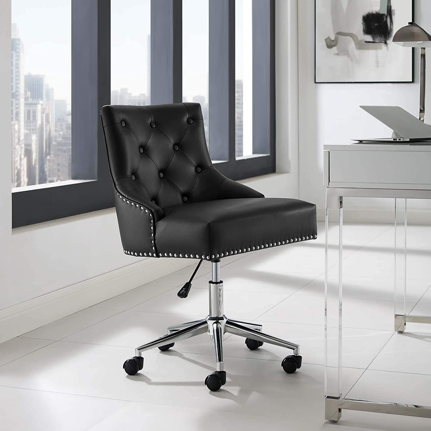 Modway Regent Tufted Button Faux Leather Swivel Office Chair with Nailhead Trim in Black