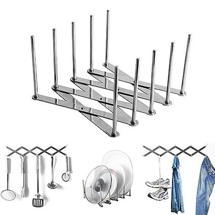 Extendable Pot Lid Holders Multipurpose Steamer Rack Pans Glasses Holder Flexible Plate Organizer Kitchen Bakeware Cutting Board Drying Rack for ...