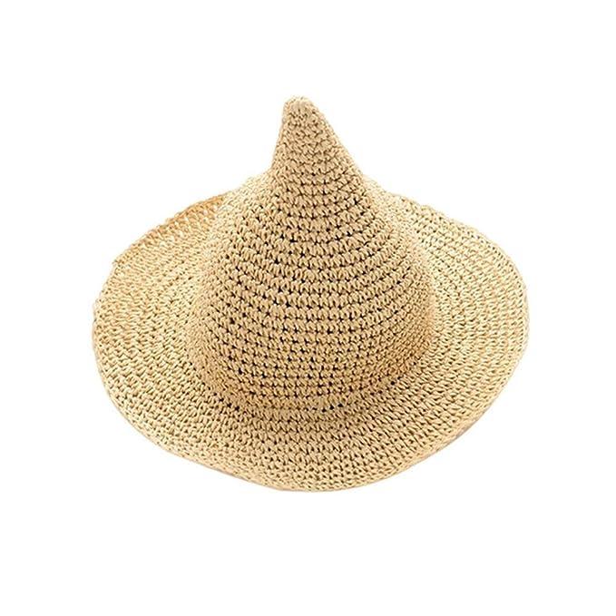 Amazon.com: Sombrero de paja de color sólido para mujer ...