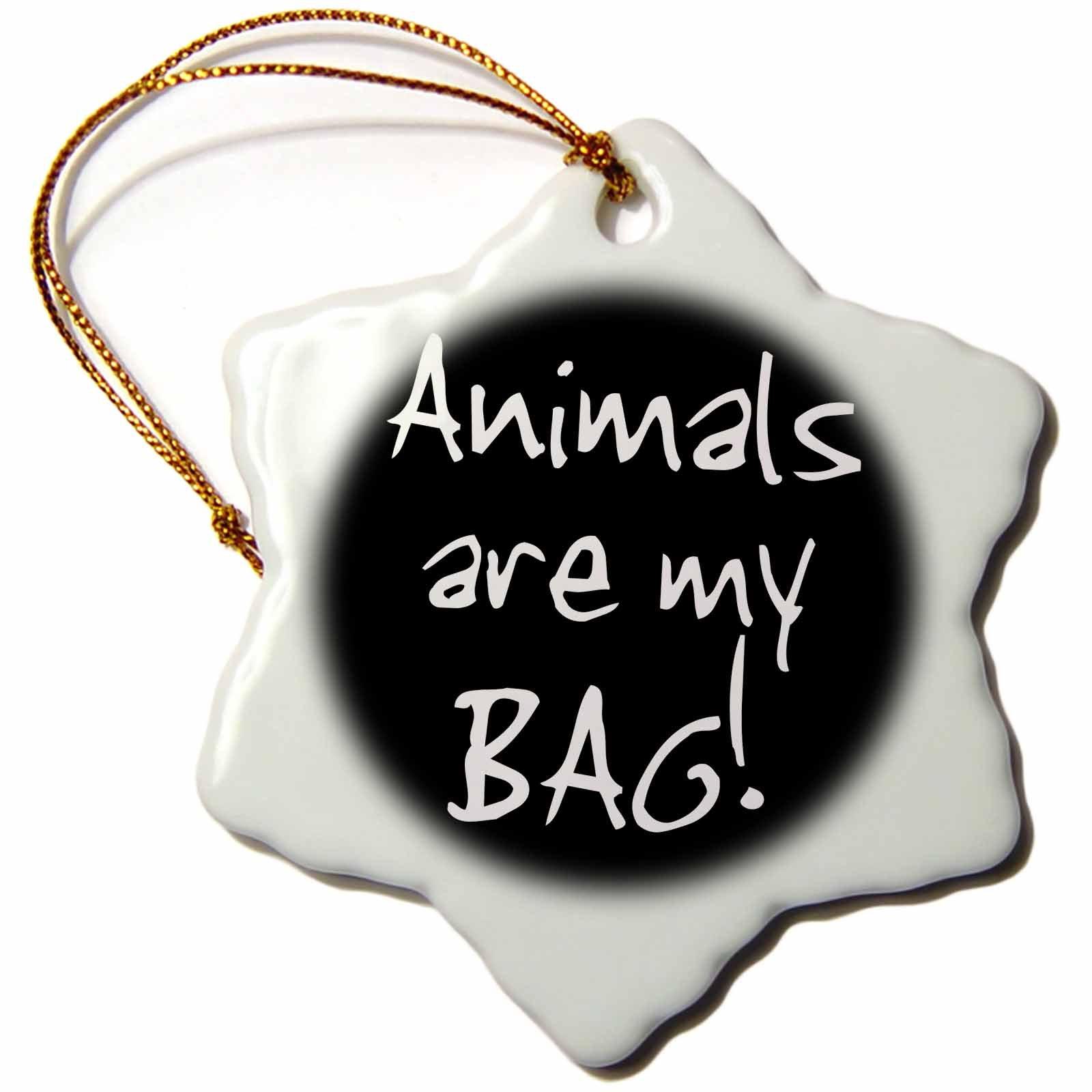 3dRose Bag Animal Lover Pet Owner Or Vet Black and White Text Snowflake Ornament, 3''