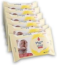 Kit com 6 Lenços Umedecidos Johnson's Baby Recém Nascido Sem Fragrância 96 unidades