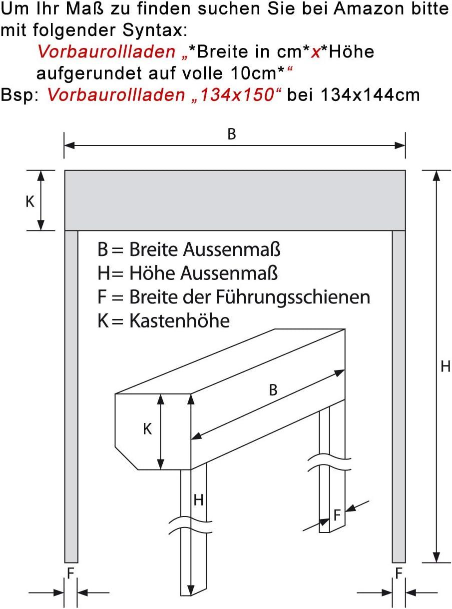 Vorbaurollladen Typ Corner 39mm Aluminium-Lamelle 170x140cm mit Motor /ähnlich RAL 7016 als Ma/ßanfertigung Bedienseite: rechts, Anthrazit