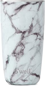 S'well Stainless Steel Tumbler - Triple-Layered Vacuum-Insulated Containers Keeps Drinks Cold for 17 Hours and Hot for 4 - with No Condensation - BPA Free Water Bottle, 18oz, White Marble