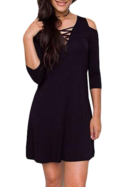 d2b63fc0c8 Image Unavailable. Image not available for. Color: MLG Women's Casual V  Neck Lace Up 3/4 Sleeve A-Line Mini Dress