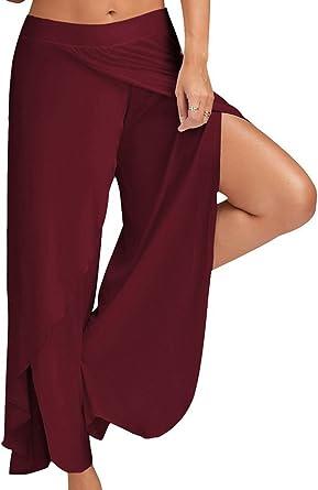 Women Chiffon Wide Leg Pants High Slit Split High Waist Cropped Palazzo Soft New